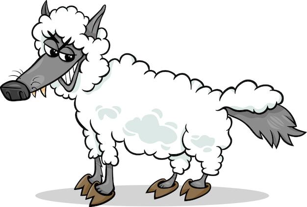 Loup dans le dessin animé de vêtements de moutons