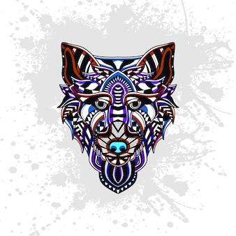 Loup décoré de formes abstraites