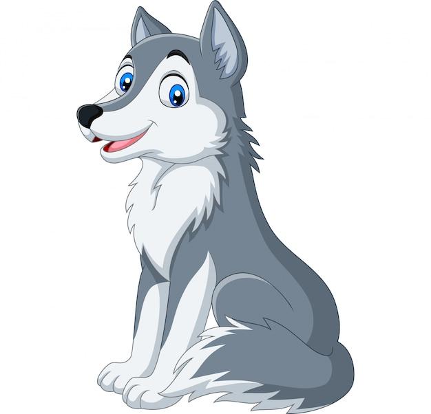 Loup de dessin animé assis sur fond blanc