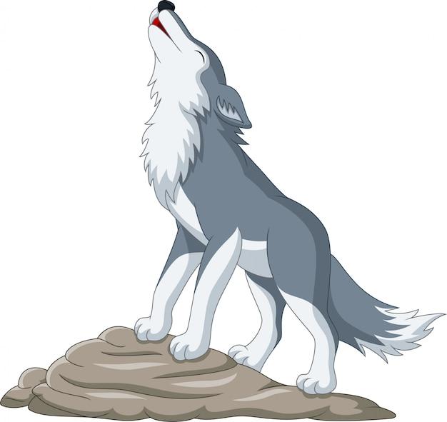 Loup de dessin animé hurlant sur le rocher