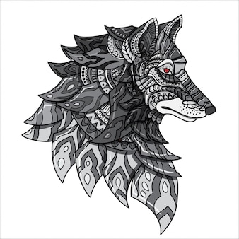 Loup dessiné à la main zentangle loup illustration-vecteur.