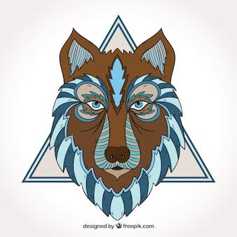 Loup ethnique avec triangle