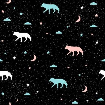 Loup fait à la main sans soudure de fond. motif abstrait de loup bleu, blanc et rose pour carte, invitation, papier peint, album, album, papier d'emballage de vacances, tissu textile, vêtement, t-shirt, etc.