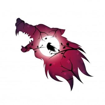Loup-garou, loup, chien, corbeau - illustration papier