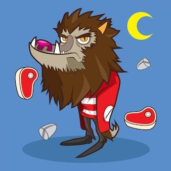 Loup-garou mignon dessin animé halloween