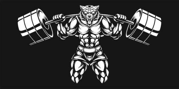 Loup et haltère, illustration en noir et blanc