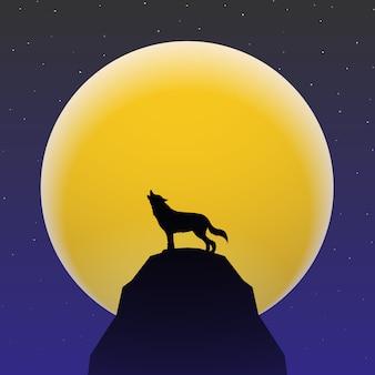 Loup hurlant devant super lune