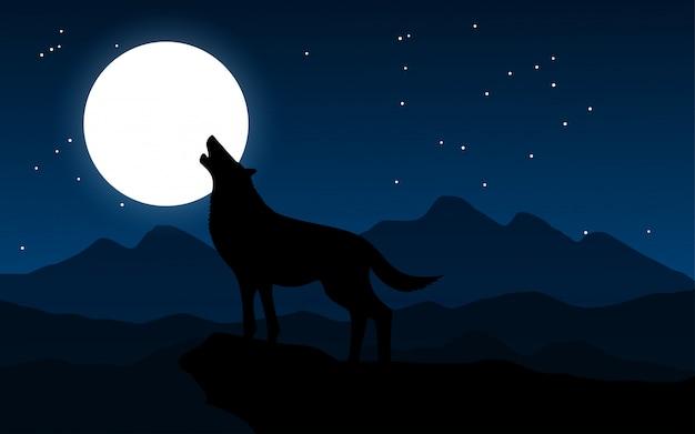 Loup hurlant sur la lune la nuit