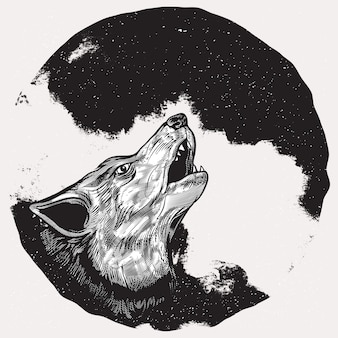 Loup hurlant à la pleine lune