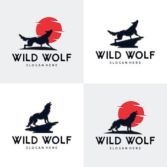Le loup hurle au logo de la lune