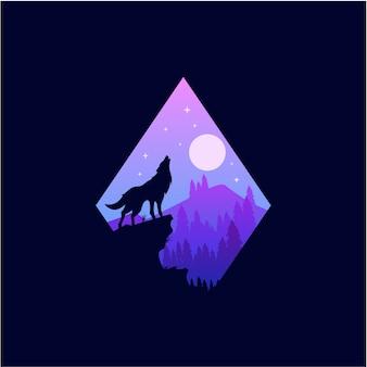 Loup icône lune