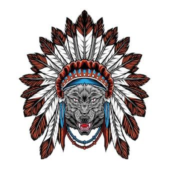 Loup avec illustration de coiffe indienne