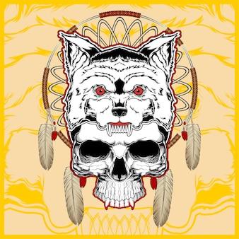 Loup avec main de crâne dessin vectoriel