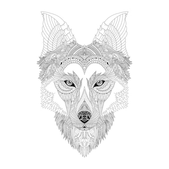 Loup mandala art