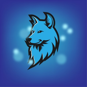 Loup mascotte logo bleu fort
