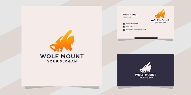 Loup avec modèle de logo de montagne