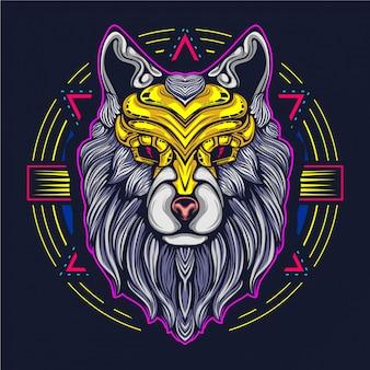 Loup oeuvre illustration décoratif face