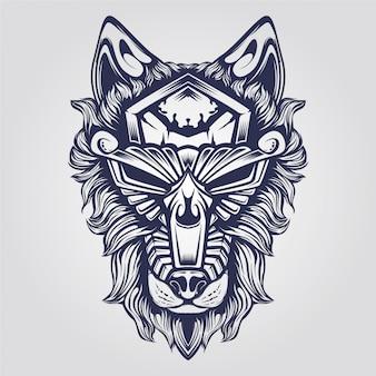 Loup ornement abstrait