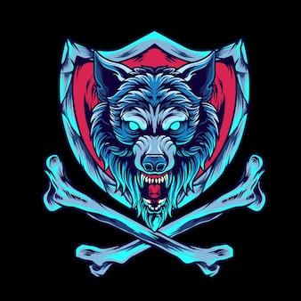 Loup avec os croisé et bouclier