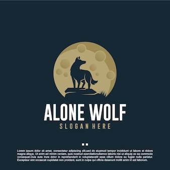 Loup seul, lune, modèle de conception de logo