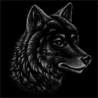 Le loup de tête dessine.