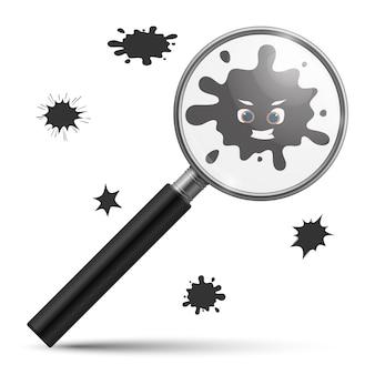 Loupe bactérienne. contamination infection micro-organismes germinaux ou virus informatique et loupe en verre réaliste