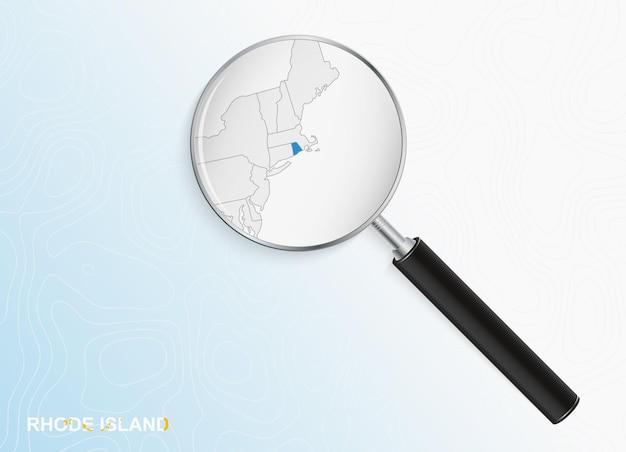 Loupe avec carte de rhode island sur fond topographique abstrait
