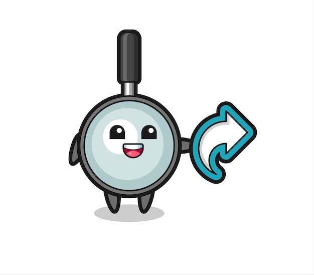 La loupe mignonne tient le symbole de partage des médias sociaux, la conception de style mignon pour le t-shirt, l'autocollant, l'élément de logo