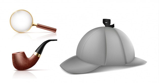 Loupe vintage, pipe de tabac à fumer rétro et deerstalker cap 3d icônes vectorielles réalistes s