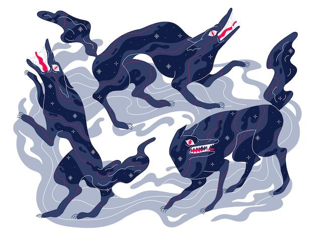 Loups effrayants, bête agressive vicieuse, personnage mystique de conte de fées sombre.