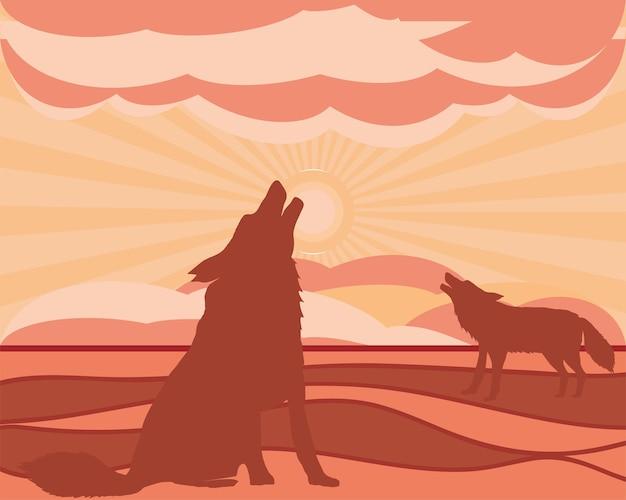 Loups de silhouette hurlant à la lune