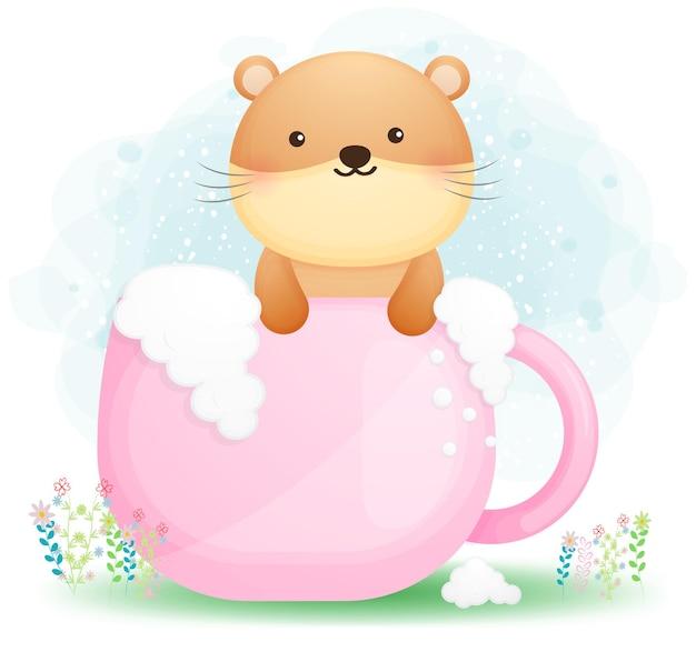 Loutre de griffonnage mignon se doucher dans le dessin animé de tasse