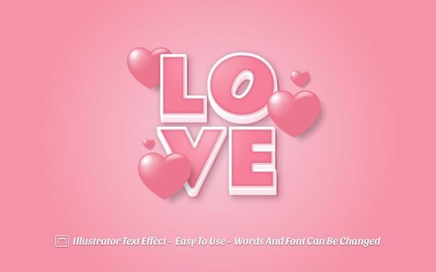 Love 3d - style d'effet de texte modifiable