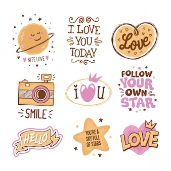 Love and stars quotes hand drawn in doodles