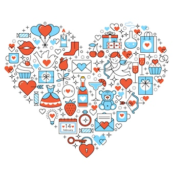 Love heart romantic icons composition