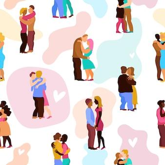 Love Hugs Seamless Pattern Vecteur gratuit