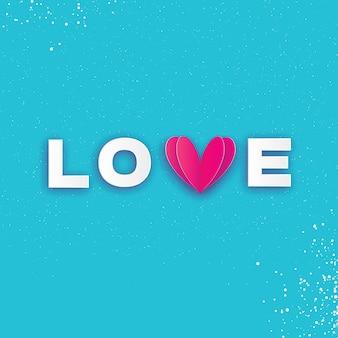 Love lettrage typographique avec coeur découpé en papier rose