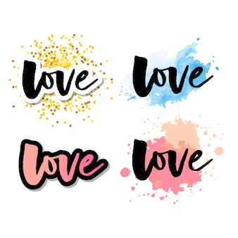 Love logo lettrage logo calligraphie ensemble