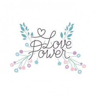 Love power label avec icône isolé fleur