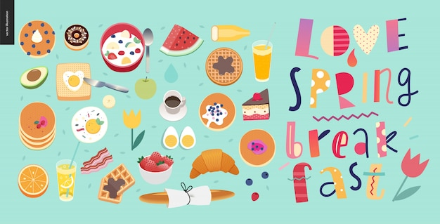 Love, spring, breakfast composition de lettrage