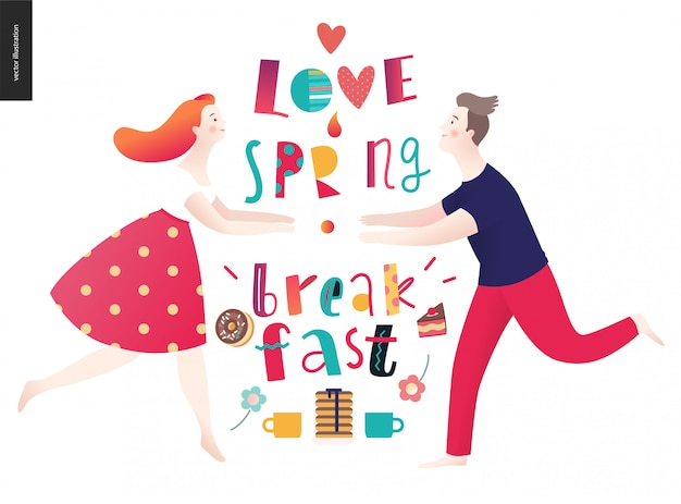 Love, spring, breakfast composition de lettrage