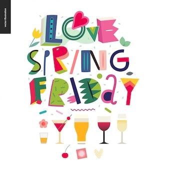 Love spring vendredi - composition du lettrage