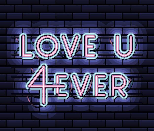 Love u 4ever lettrage en police néon de couleur rose et bleu sur la conception d'illustration bleu foncé