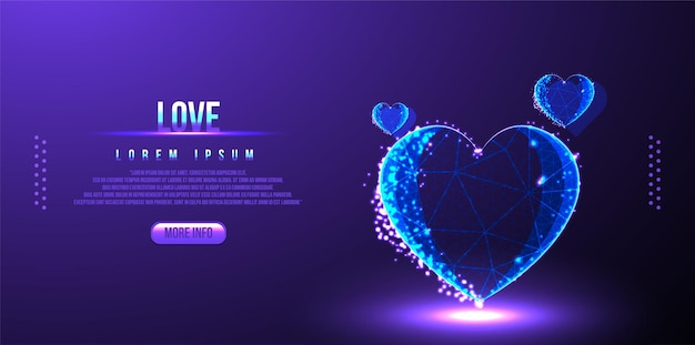 Love valentines low poly wireframe
