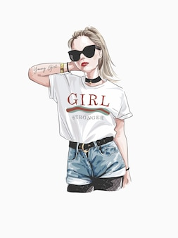 Love you forever slogan avec fashion girl in sunglasses illustration
