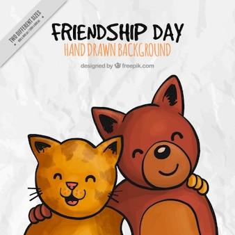 Lovely animals amitié day background