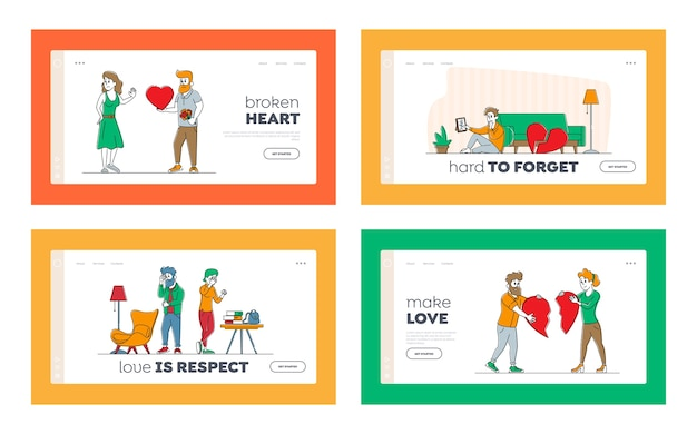 Lovers in end of loving relations landing page template set