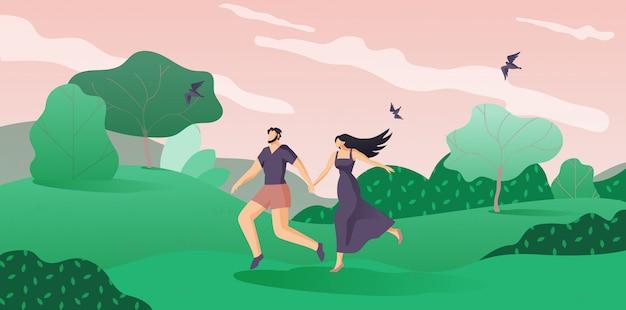 Lovers man and woman run à travers le dessin animé woods.