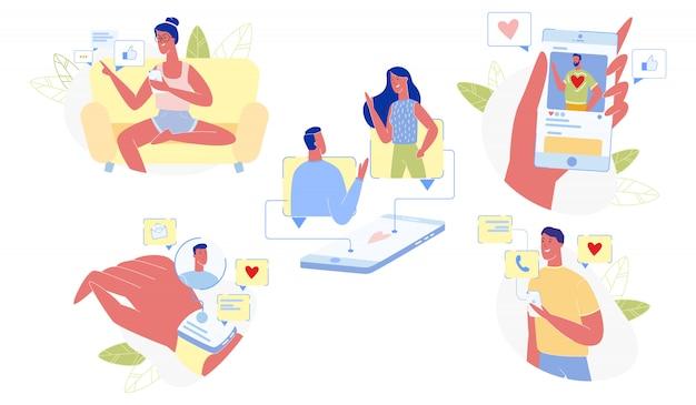 Loving people communiquer à l'aide de gadgets set