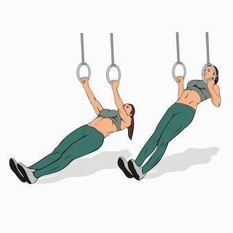 Low pull ups avec image des anneaux de gymnastique